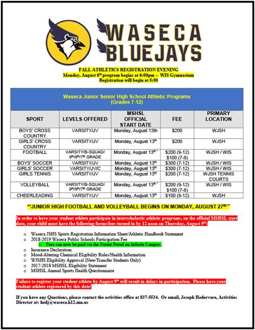Waseca Athletics Registration
